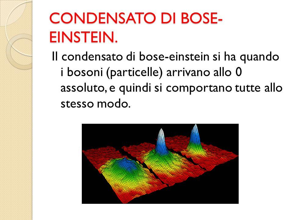 CONDENSATO DI BOSE- EINSTEIN. Il condensato di bose-einstein si ha quando i bosoni (particelle) arrivano allo 0 assoluto, e quindi si comportano tutte