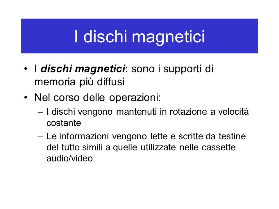 I dischi magnetici I dischi magnetici: sono i supporti di memoria più diffusi Nel corso delle operazioni: –I dischi vengono mantenuti in rotazione a v