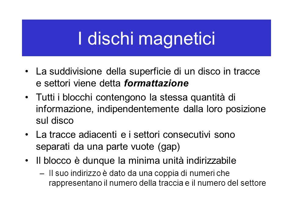 I dischi magnetici La suddivisione della superficie di un disco in tracce e settori viene detta formattazione Tutti i blocchi contengono la stessa qua