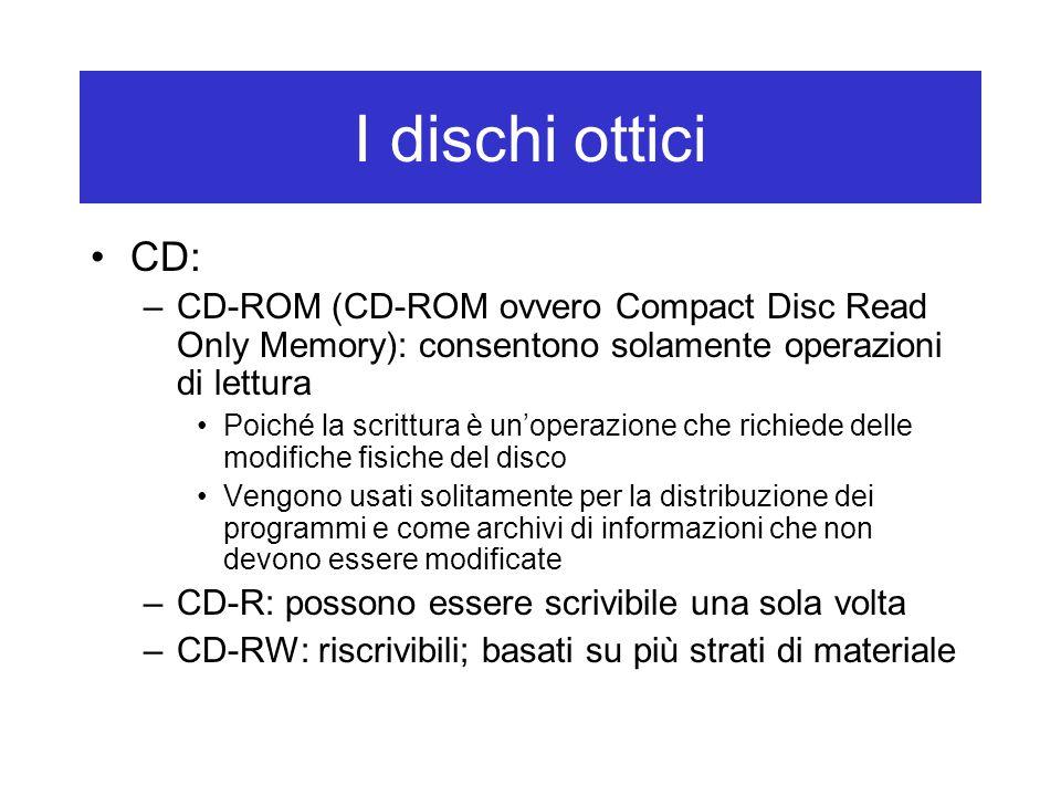 I dischi ottici CD: –CD-ROM (CD-ROM ovvero Compact Disc Read Only Memory): consentono solamente operazioni di lettura Poiché la scrittura è un'operazi