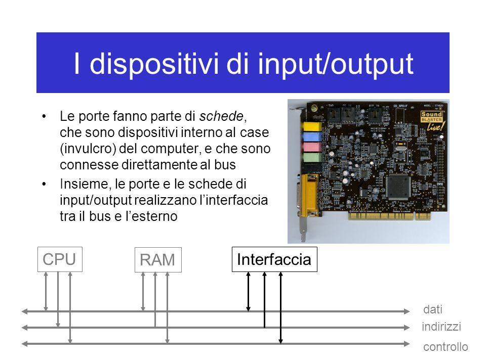 I dispositivi di input/output Le porte fanno parte di schede, che sono dispositivi interno al case (invulcro) del computer, e che sono connesse dirett