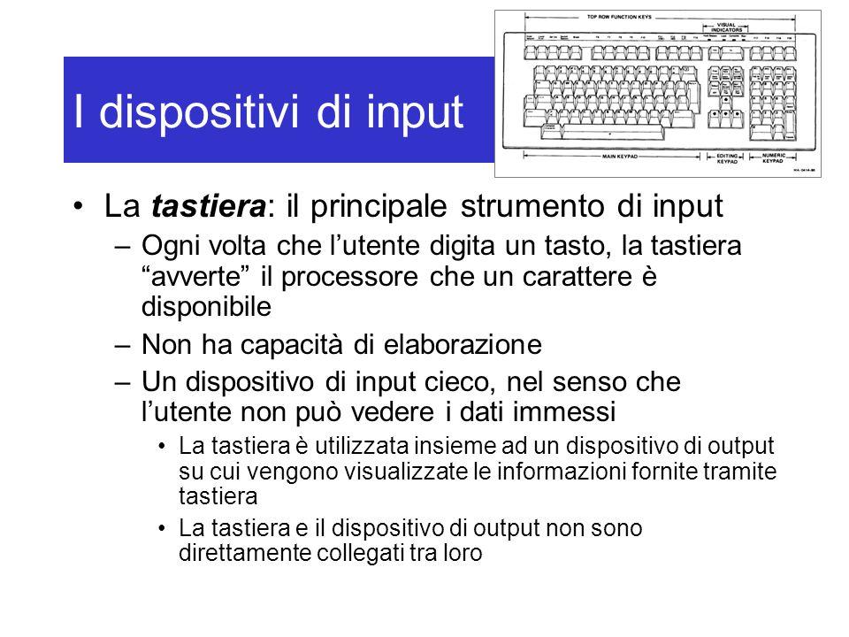 """I dispositivi di input La tastiera: il principale strumento di input –Ogni volta che l'utente digita un tasto, la tastiera """"avverte"""" il processore che"""