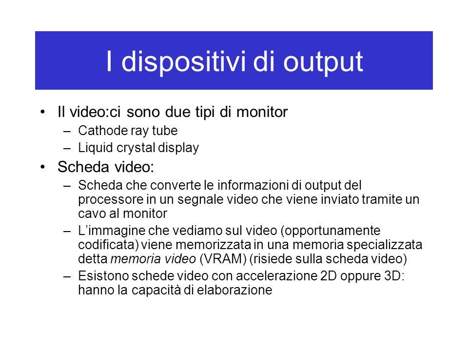 I dispositivi di output Il video:ci sono due tipi di monitor –Cathode ray tube –Liquid crystal display Scheda video: –Scheda che converte le informazi