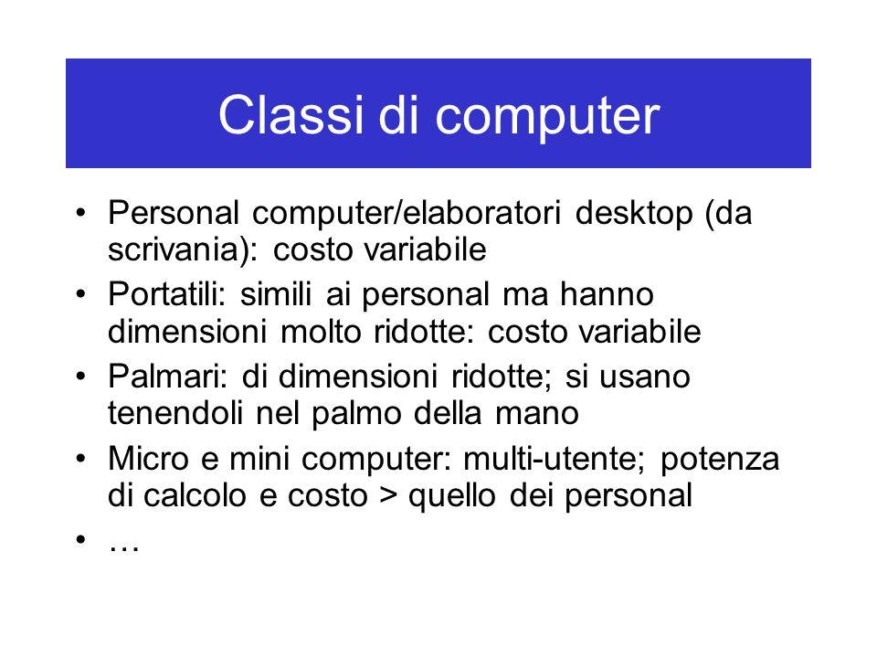 Classi di computer Personal computer/elaboratori desktop (da scrivania): costo variabile Portatili: simili ai personal ma hanno dimensioni molto ridot