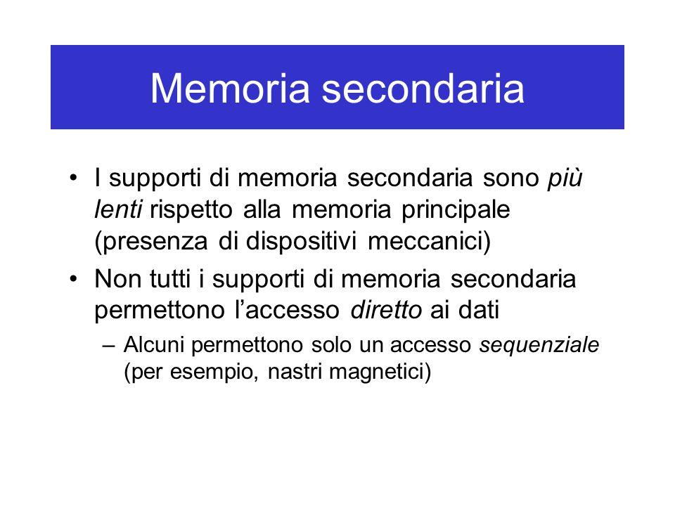 Memoria secondaria I supporti di memoria secondaria sono più lenti rispetto alla memoria principale (presenza di dispositivi meccanici) Non tutti i su