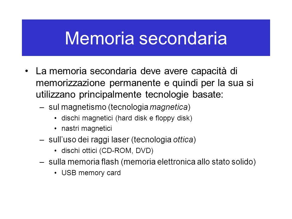 Memoria secondaria La memoria secondaria deve avere capacità di memorizzazione permanente e quindi per la sua si utilizzano principalmente tecnologie