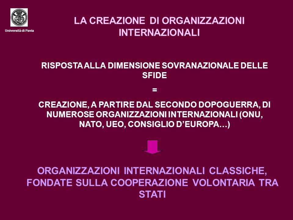Università di Pavia LA CREAZIONE DI ORGANIZZAZIONI INTERNAZIONALI RISPOSTA ALLA DIMENSIONE SOVRANAZIONALE DELLE SFIDE = CREAZIONE, A PARTIRE DAL SECONDO DOPOGUERRA, DI NUMEROSE ORGANIZZAZIONI INTERNAZIONALI (ONU, NATO, UEO, CONSIGLIO D'EUROPA…) ORGANIZZAZIONI INTERNAZIONALI CLASSICHE, FONDATE SULLA COOPERAZIONE VOLONTARIA TRA STATI