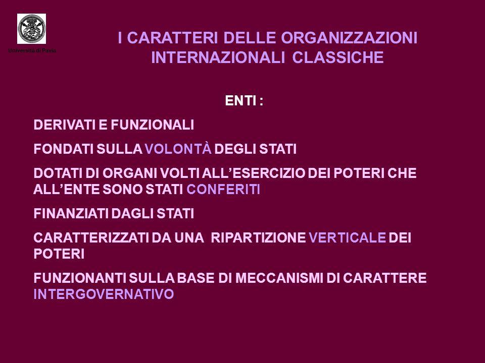 Università di Pavia I CARATTERI DELLE ORGANIZZAZIONI INTERNAZIONALI CLASSICHE ENTI : DERIVATI E FUNZIONALI FONDATI SULLA VOLONTÀ DEGLI STATI DOTATI DI