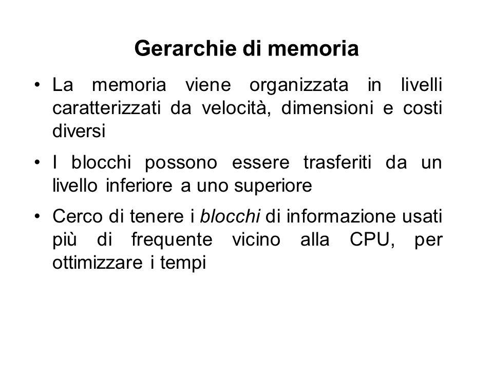 Gerarchie di memoria La memoria viene organizzata in livelli caratterizzati da velocità, dimensioni e costi diversi I blocchi possono essere trasferiti da un livello inferiore a uno superiore Cerco di tenere i blocchi di informazione usati più di frequente vicino alla CPU, per ottimizzare i tempi