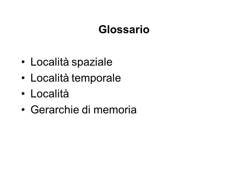 Glossario Località spaziale Località temporale Località Gerarchie di memoria