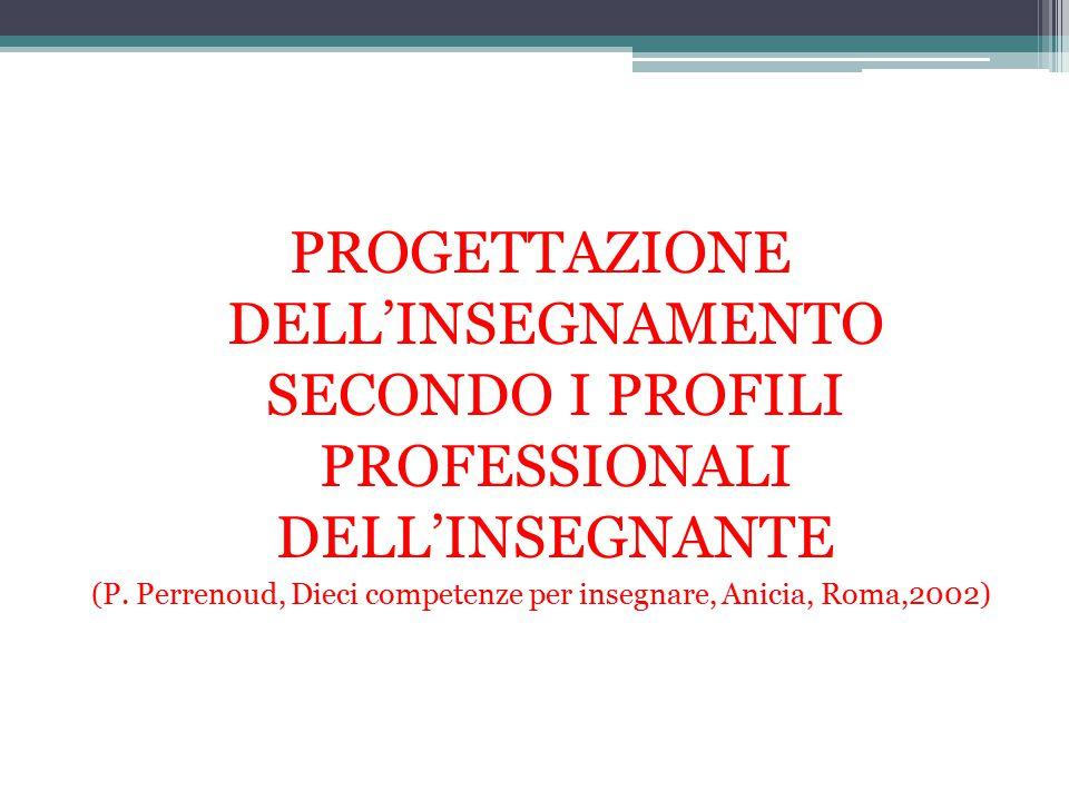 PROGETTAZIONE DELL'INSEGNAMENTO SECONDO I PROFILI PROFESSIONALI DELL'INSEGNANTE (P. Perrenoud, Dieci competenze per insegnare, Anicia, Roma,2002)