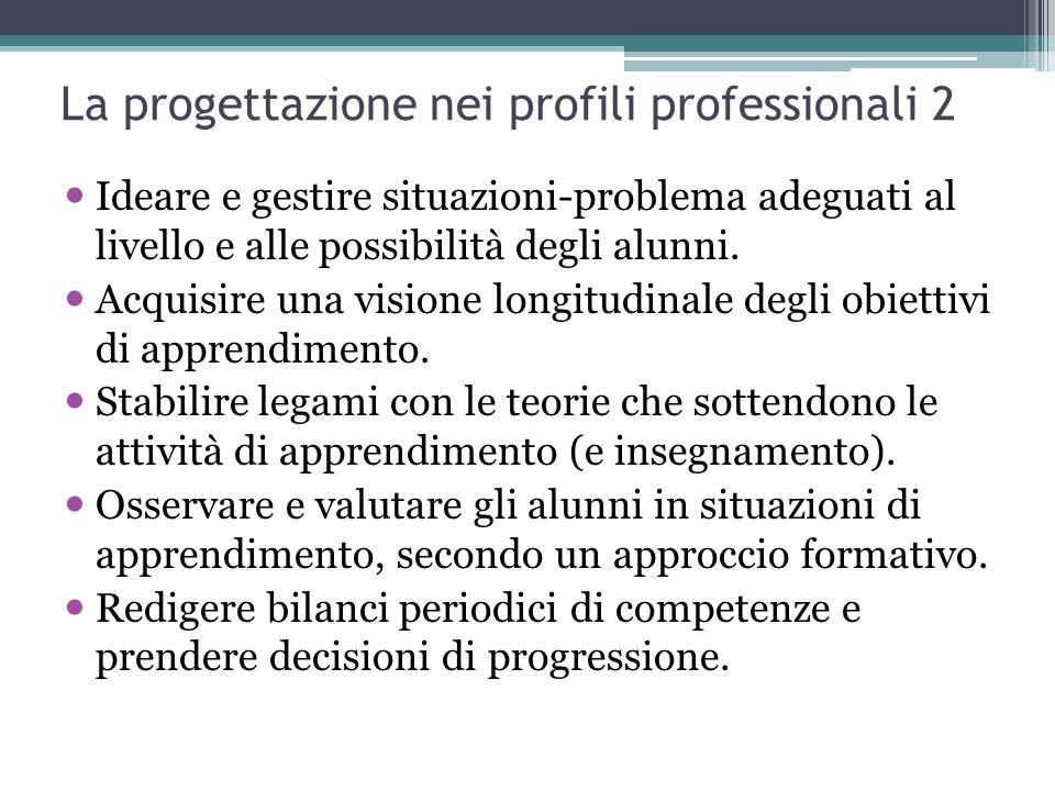 La progettazione nei profili professionali 2 Ideare e gestire situazioni-problema adeguati al livello e alle possibilità degli alunni. Acquisire una v