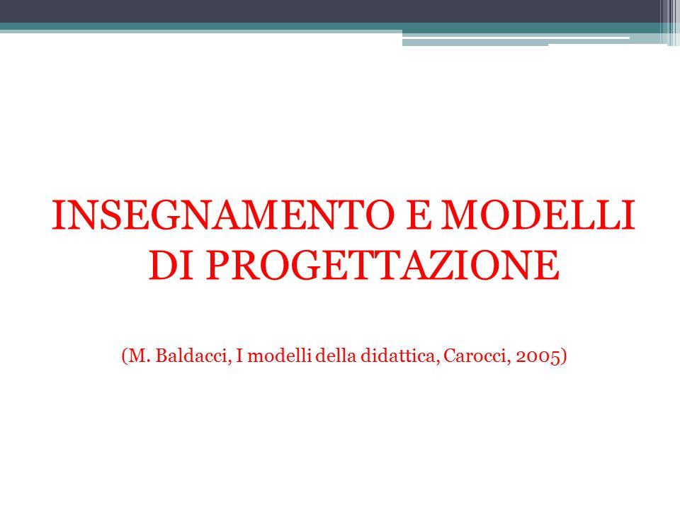 INSEGNAMENTO E MODELLI DI PROGETTAZIONE (M. Baldacci, I modelli della didattica, Carocci, 2005)