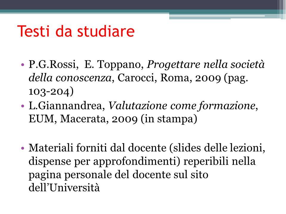 Testi da studiare P.G.Rossi, E. Toppano, Progettare nella società della conoscenza, Carocci, Roma, 2009 (pag. 103-204) L.Giannandrea, Valutazione come