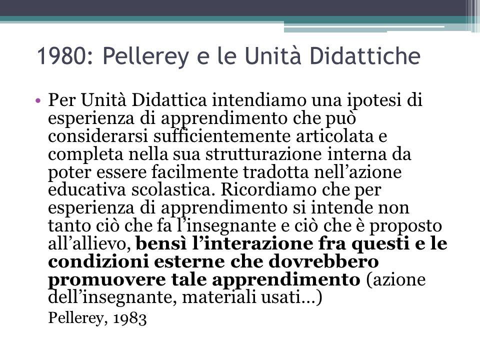 1980: Pellerey e le Unità Didattiche Per Unità Didattica intendiamo una ipotesi di esperienza di apprendimento che può considerarsi sufficientemente a