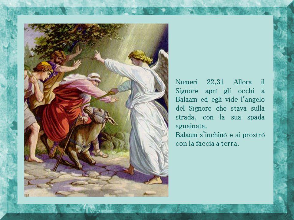 Numeri 22,31 Allora il Signore aprì gli occhi a Balaam ed egli vide l angelo del Signore che stava sulla strada, con la sua spada sguainata.