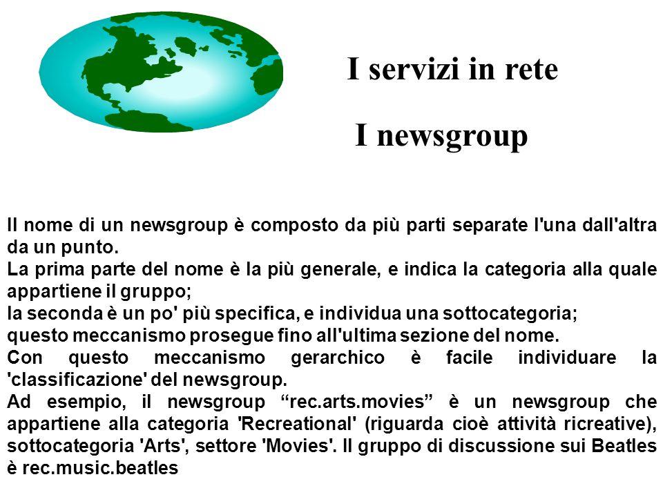 I newsgroup Il nome di un newsgroup è composto da più parti separate l una dall altra da un punto.