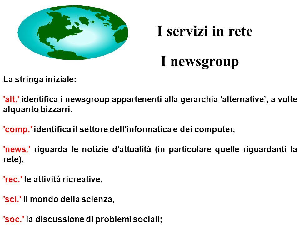 I newsgroup La stringa iniziale: alt. identifica i newsgroup appartenenti alla gerarchia alternative', a volte alquanto bizzarri.