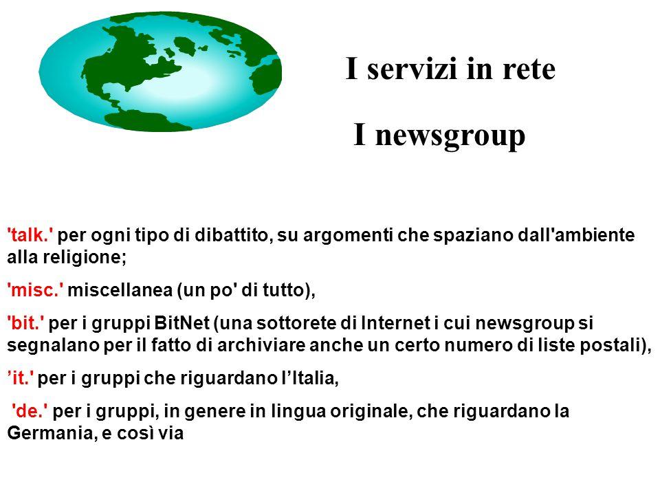 I newsgroup I servizi in rete talk. per ogni tipo di dibattito, su argomenti che spaziano dall ambiente alla religione; misc. miscellanea (un po di tutto), bit. per i gruppi BitNet (una sottorete di Internet i cui newsgroup si segnalano per il fatto di archiviare anche un certo numero di liste postali), 'it. per i gruppi che riguardano l'Italia, de. per i gruppi, in genere in lingua originale, che riguardano la Germania, e così via