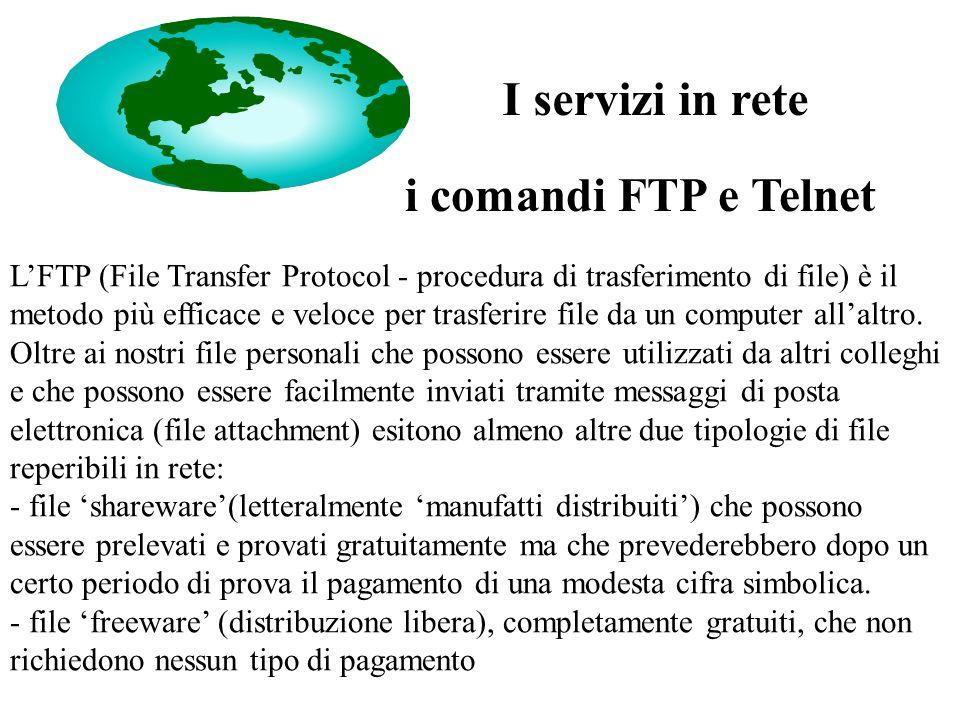 i comandi FTP e Telnet L'FTP (File Transfer Protocol - procedura di trasferimento di file) è il metodo più efficace e veloce per trasferire file da un computer all'altro.