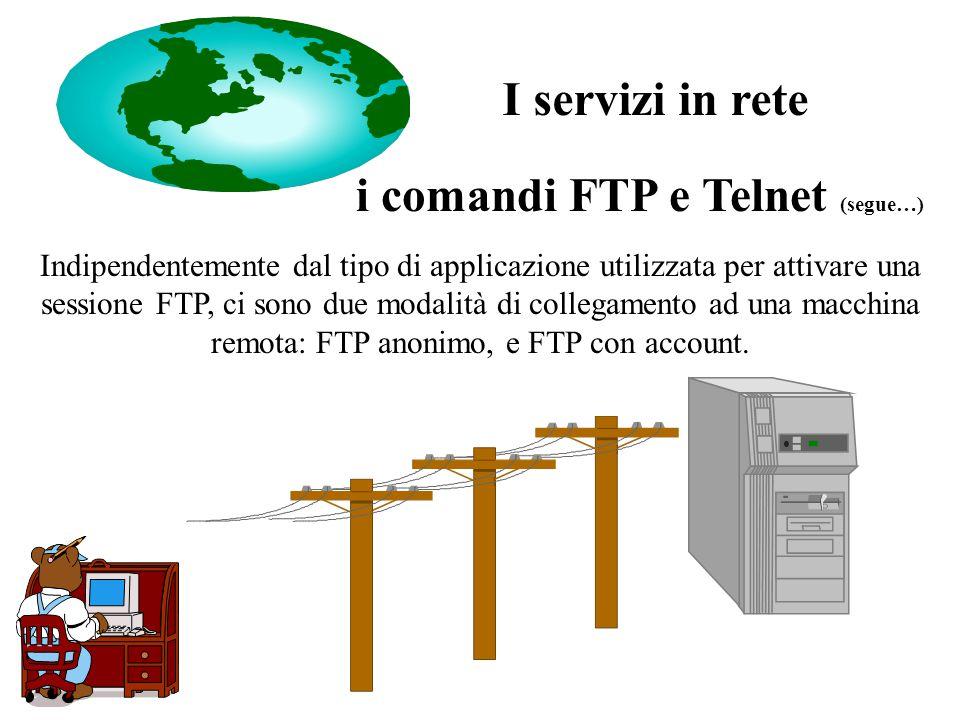 i comandi FTP e Telnet (segue…) Indipendentemente dal tipo di applicazione utilizzata per attivare una sessione FTP, ci sono due modalità di collegamento ad una macchina remota: FTP anonimo, e FTP con account.