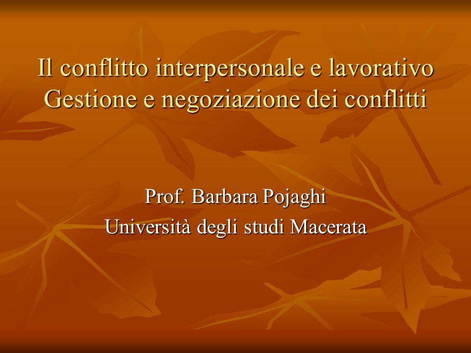Il conflitto interpersonale e lavorativo Gestione e negoziazione dei conflitti Prof. Barbara Pojaghi Università degli studi Macerata