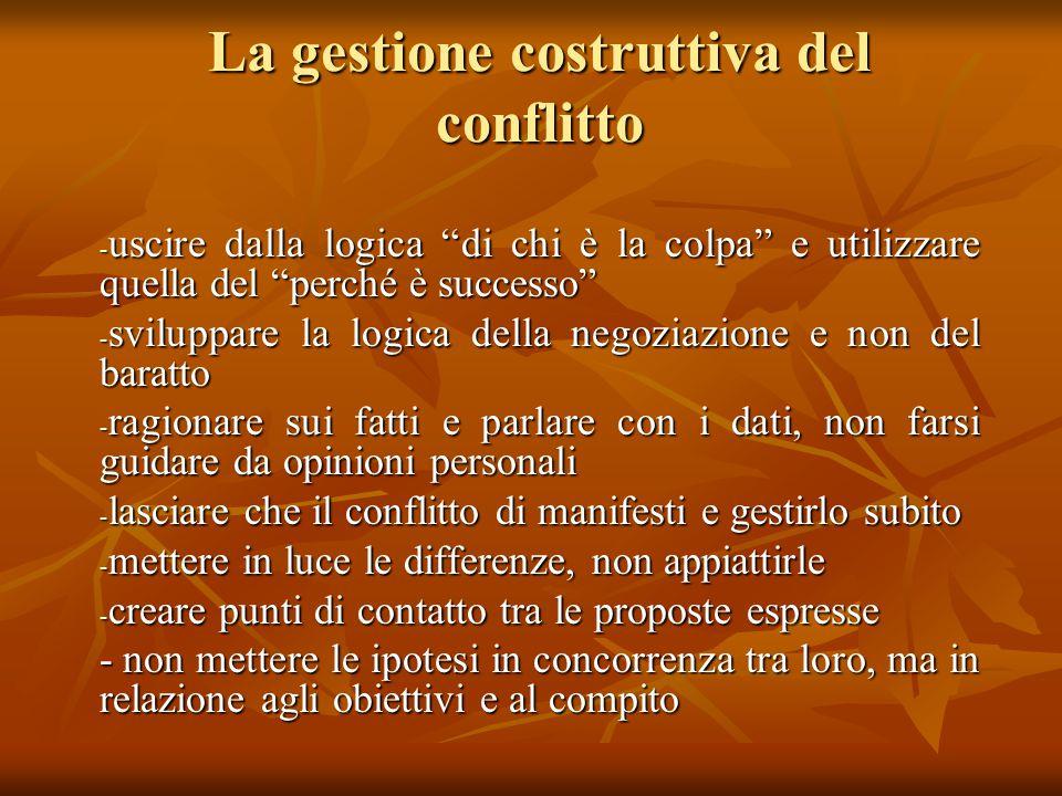 """La gestione costruttiva del conflitto - uscire dalla logica """"di chi è la colpa"""" e utilizzare quella del """"perché è successo"""" - sviluppare la logica del"""
