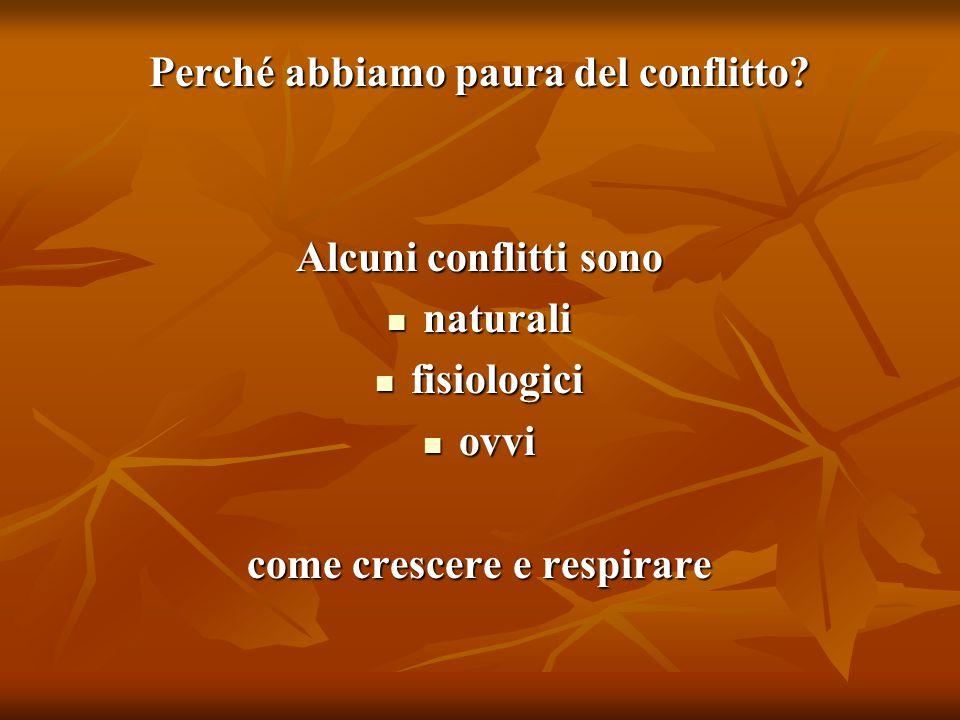 Perché abbiamo paura del conflitto? Alcuni conflitti sono naturali naturali fisiologici fisiologici ovvi ovvi come crescere e respirare