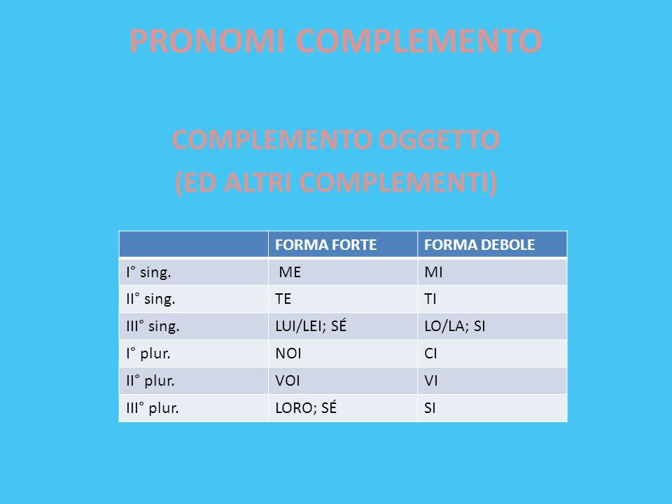 PRONOMI COMPLEMENTO COMPLEMENTO OGGETTO (ED ALTRI COMPLEMENTI) FORMA FORTEFORMA DEBOLE I° sing. MEMI II° sing.TETI III° sing.LUI/LEI; SÉLO/LA; SI I° p