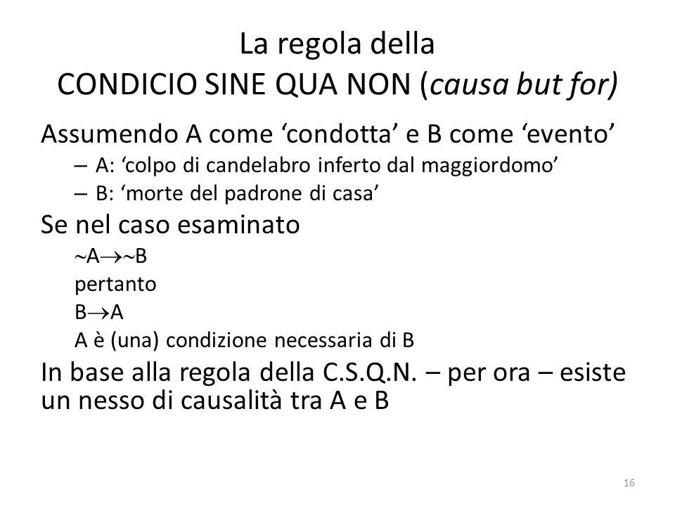 La regola della CONDICIO SINE QUA NON (causa but for) Assumendo A come 'condotta' e B come 'evento' – A: 'colpo di candelabro inferto dal maggiordomo' – B: 'morte del padrone di casa' Se nel caso esaminato  A  B pertanto B  A A è (una) condizione necessaria di B In base alla regola della C.S.Q.N.
