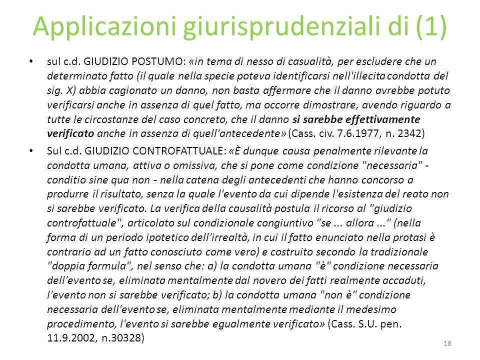 Applicazioni giurisprudenziali di (1) sul c.d.