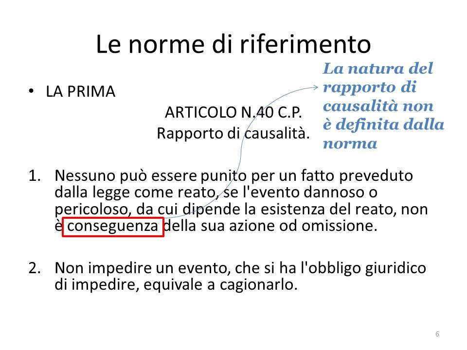 Le norme di riferimento LA PRIMA ARTICOLO N.40 C.P.