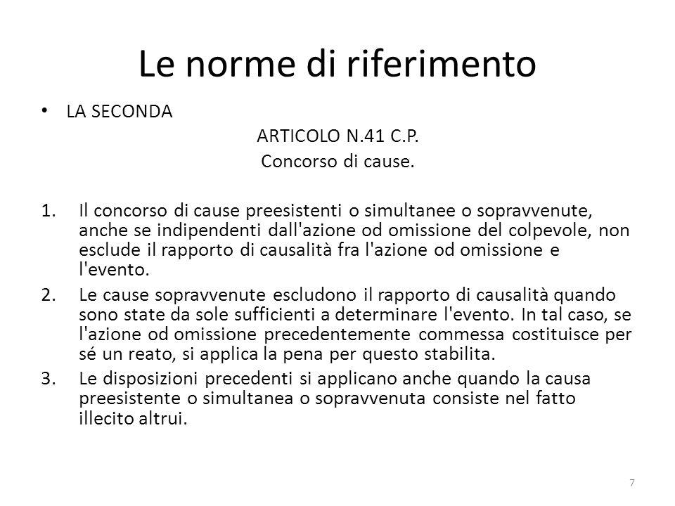 Le norme di riferimento LA SECONDA ARTICOLO N.41 C.P.