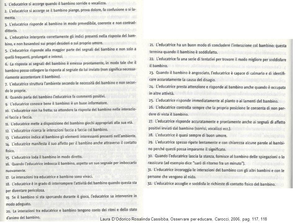 Laura D'Odorico Rosalinda Cassibba, Osservare per educare, Carocci, 2006, pag. 117, 118