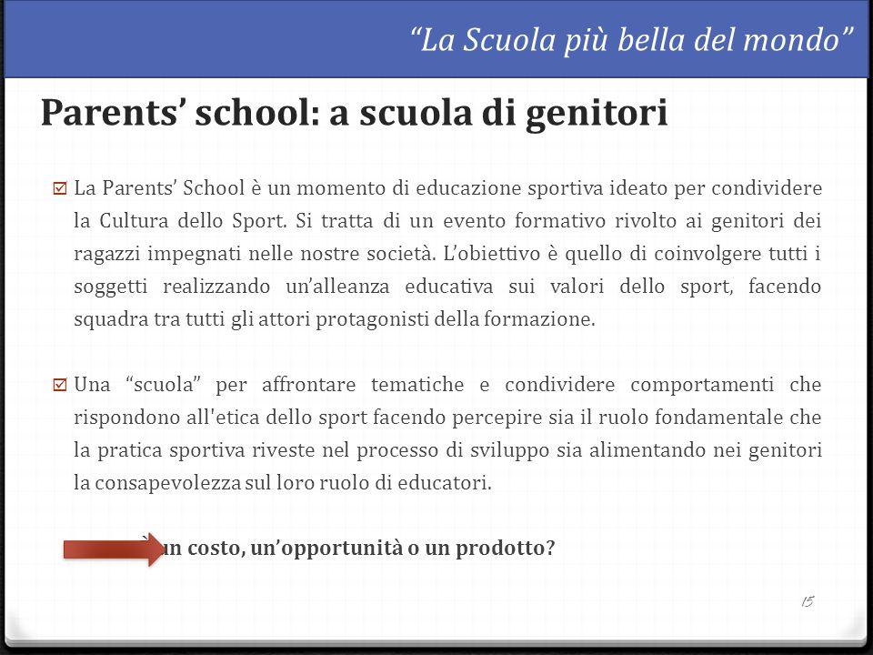  La Parents' School è un momento di educazione sportiva ideato per condividere la Cultura dello Sport. Si tratta di un evento formativo rivolto ai ge