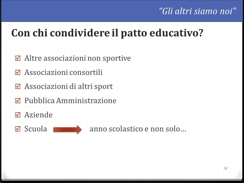  Altre associazioni non sportive  Associazioni consortili  Associazioni di altri sport  Pubblica Amministrazione  Aziende  Scuola anno scolastic
