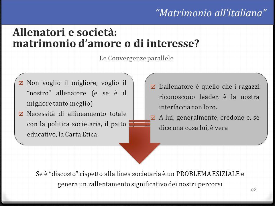 """Le Convergenze parallele 20 Allenatori e società: matrimonio d'amore o di interesse? """"Matrimonio all'italiana""""  Non voglio il migliore, voglio il """"no"""