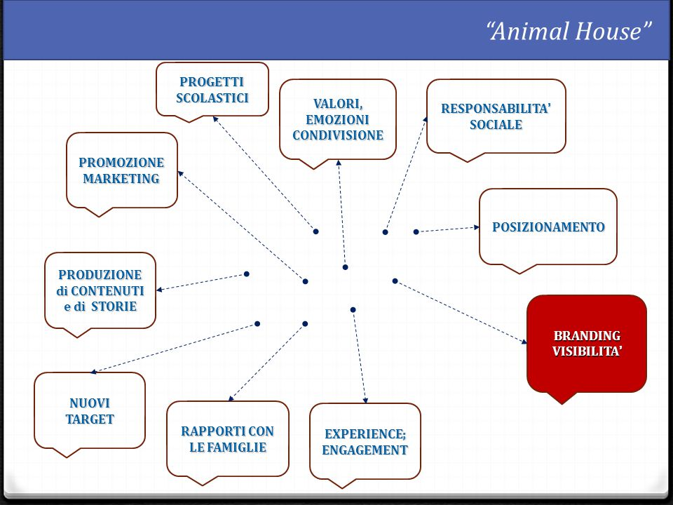 BRANDING VISIBILITA' PROGETTI SCOLASTICI PROMOZIONEMARKETING VALORI, EMOZIONI CONDIVISIONE POSIZIONAMENTO RESPONSABILITA' SOCIALE PRODUZIONE di CONTENUTI e di STORIE EXPERIENCE; ENGAGEMENT NUOVI TARGET RAPPORTI CON LE FAMIGLIE Animal House