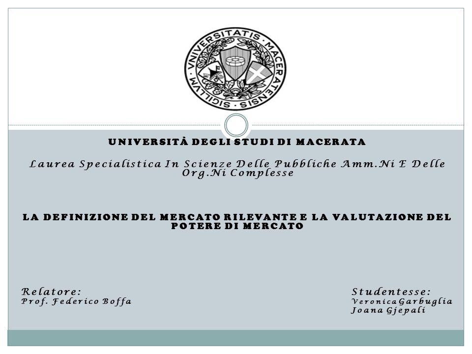UNIVERSITÀ DEGLI STUDI DI MACERATA Laurea Specialistica In Scienze Delle Pubbliche Amm.Ni E Delle Org.Ni Complesse LA DEFINIZIONE DEL MERCATO RILEVANT