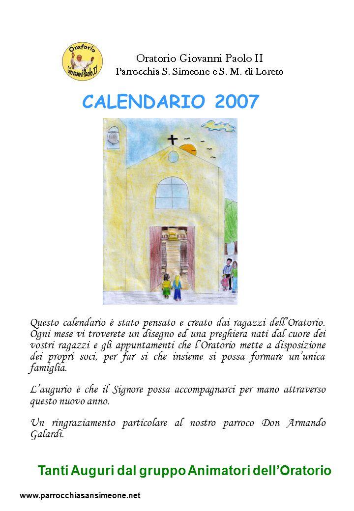 Questo calendario è stato pensato e creato dai ragazzi dell'Oratorio. Ogni mese vi troverete un disegno ed una preghiera nati dal cuore dei vostri rag