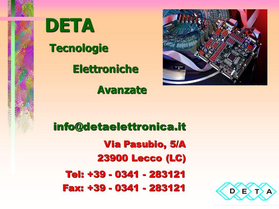 DETA Tecnologie Elettroniche Avanzate info@detaelettronica.it Via Pasubio, 5/A 23900 Lecco (LC) Tel: +39 - 0341 - 283121 Fax: +39 - 0341 - 283121