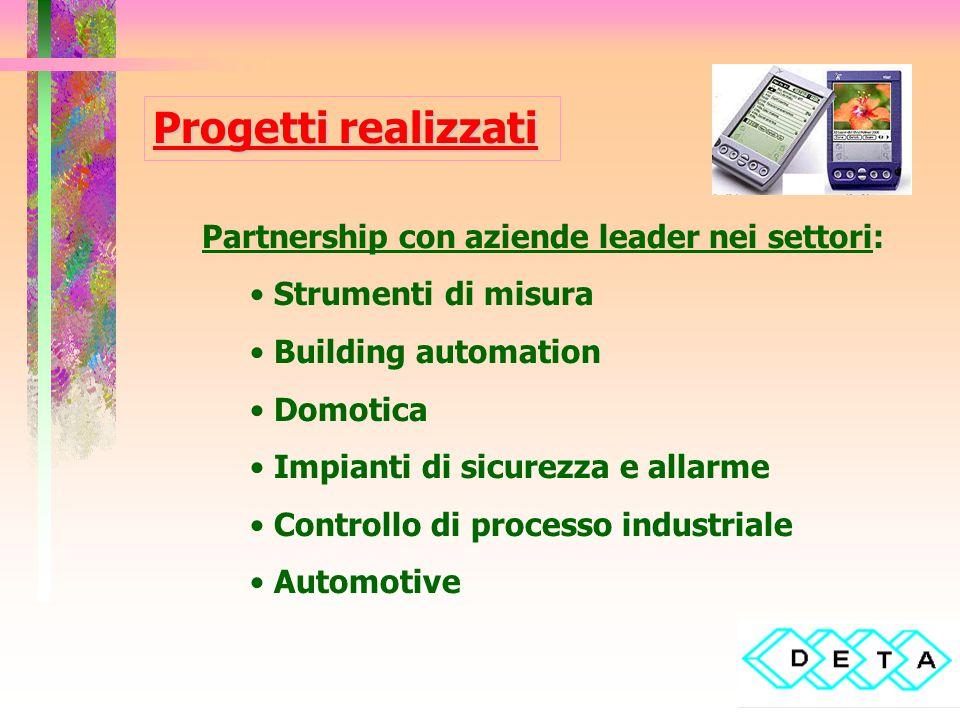 Progetti realizzati Partnership con aziende leader nei settori: Strumenti di misura Building automation Domotica Impianti di sicurezza e allarme Controllo di processo industriale Automotive