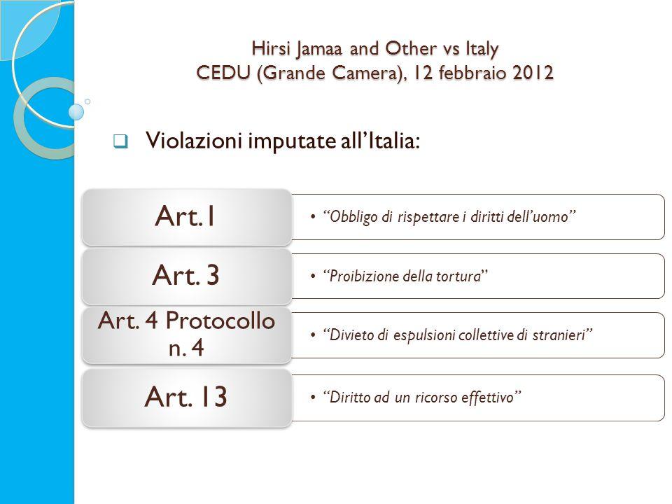 Hirsi Jamaa and Other vs Italy CEDU (Grande Camera), 12 febbraio 2012  Violazioni imputate all'Italia: Obbligo di rispettare i diritti dell'uomo Art.1 Proibizione della tortura Art.