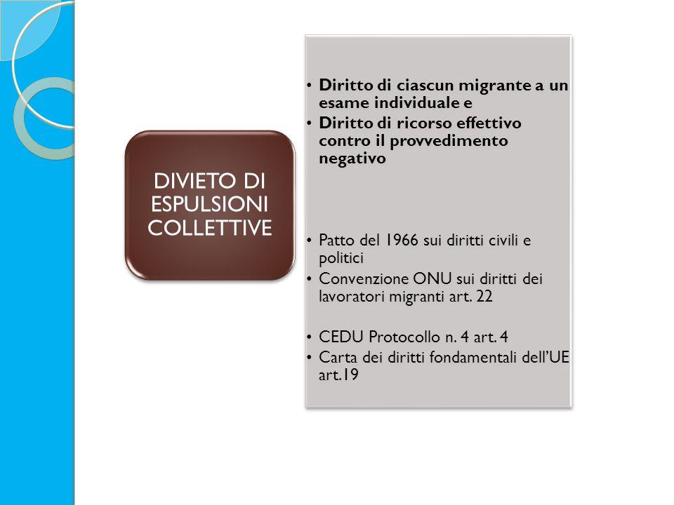 Diritto di ciascun migrante a un esame individuale e Diritto di ricorso effettivo contro il provvedimento negativo Patto del 1966 sui diritti civili e politici Convenzione ONU sui diritti dei lavoratori migranti art.