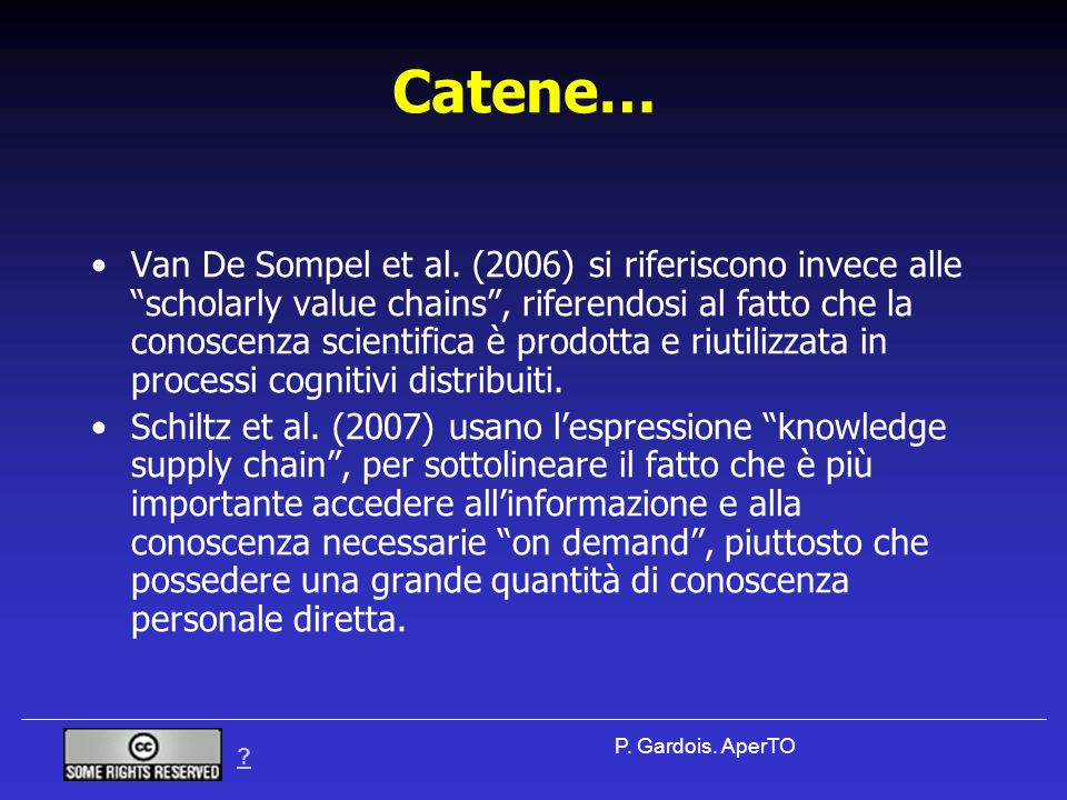 P. Gardois. AperTO Catene… Van De Sompel et al.
