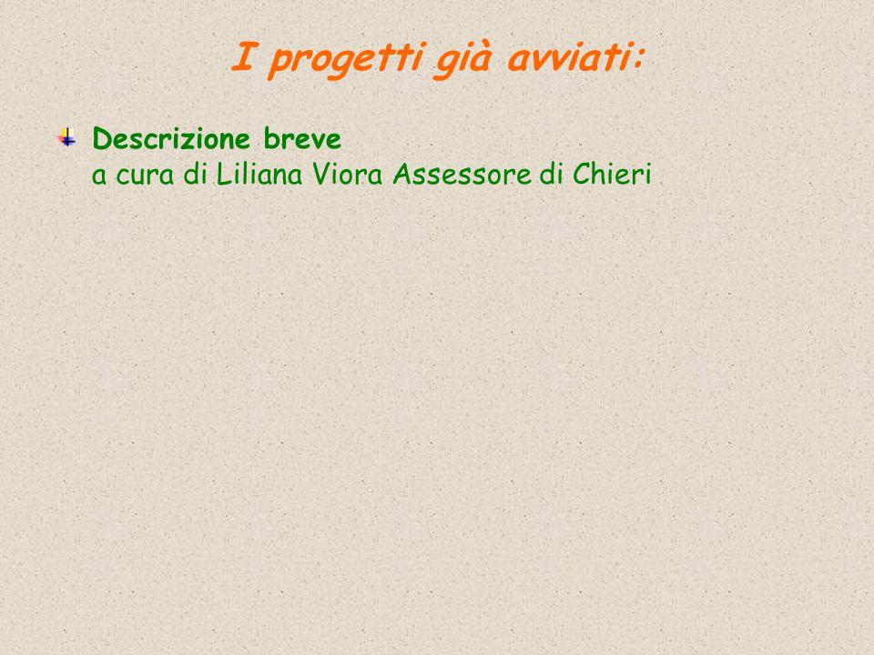 Descrizione breve a cura di Liliana Viora Assessore di Chieri I progetti già avviati: