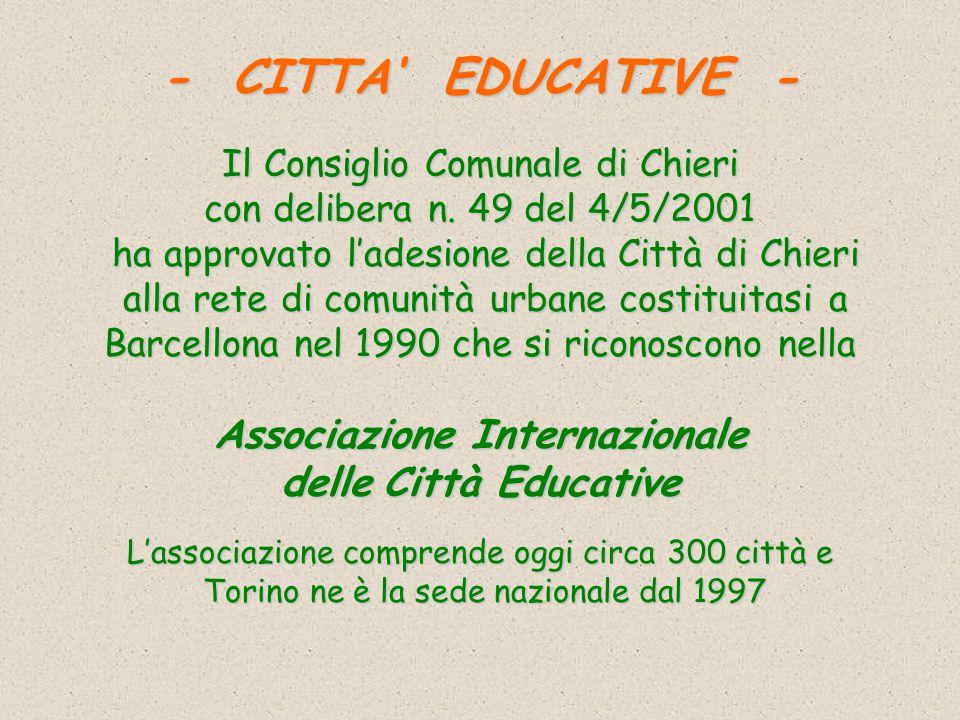 CHIERICHIERI CITTA'CITTA' EDUCATIVAEDUCATIVA 13 DICEMBRE 2001 Grazie per la Vostra attenzione