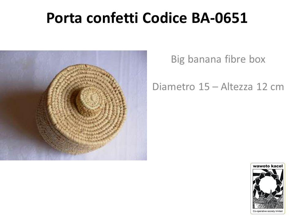 Porta confetti Codice BA-0651 Big banana fibre box Diametro 15 – Altezza 12 cm