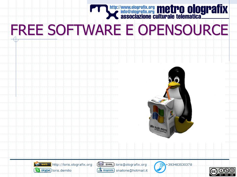 FREE SOFTWARE E OPENSOURCE http://loris.olografix.org loris@olografix.org +393483530378 loris.demilio snailone@hotmail.it