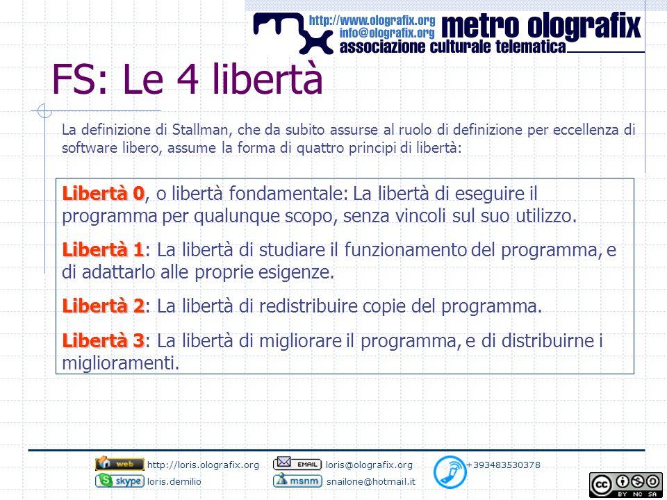 FS: Le 4 libertà Libertà 0 Libertà 0, o libertà fondamentale: La libertà di eseguire il programma per qualunque scopo, senza vincoli sul suo utilizzo.